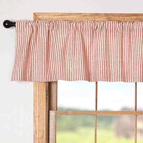 """Homespun Red Ticking Valance Curtain, 16"""" x 72"""", Primitive, Country, Farmhouse Style Window Valance"""