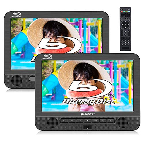 """PUMPKIN Blu Ray Dual Car DVD Players with Rechargeable Battery Support HDMI Out, 1080P MP4 Video, Sync Screen, Dolby Audio, AV in & Out, USB SD (10.1"""" Host DVD Player+ Slave Monitor)"""