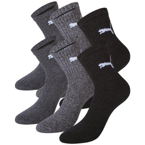 PUMA Unisex Short Crew Socks Socken Sportsocken MIT FROTTEESOHLE 6er Pack, 39-42, Anthracite/Grey