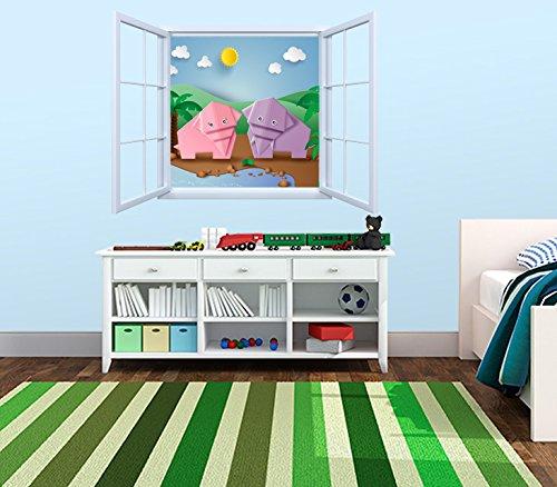 Vinilo Decorativo Pared Infantil | Ventana Elefantes Origami | Varias Medidas 155x155cm | Adhesivo Resistente y de Facil Aplicación | Multicolor | Pegatina Adhesiva Decorativa de Diseño Elegante