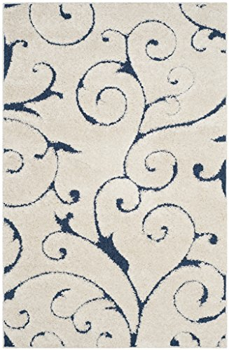 Safavieh Florida Shag Collection SG455-1165 Scrolling Vine Graceful Swirl Textured 1.18-inch Thick Area Rug, 2
