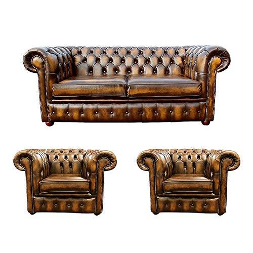 JVmoebel Sofá de piel Chesterfield 2 + 1 + 1 funda de tela para sofá