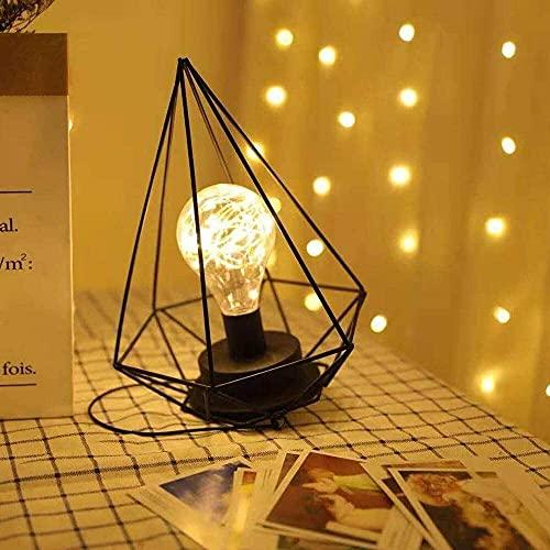 JAOSY Personalidad de Hierro Forjado nórdico Creativo triángulo invertido lámpara de Mesa decoración lámpara Dormitorio decoración lámpara de Mesa Luminosa Rosa Tama?o 20 cm * 38 cm