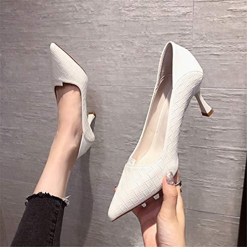 Zapatos de tacón alto para mujer, zapatos de corte tejidos, cuero suave, punta de punta superficial, zapatos de trabajo, color carne, 37