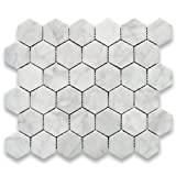 Stone Center Online Carrara White Italian Carrera Marble Hexagon Mosaic Tile 2 inch Polished Venato Bianco Bathroom Kitchen Backsplash Floor Tile