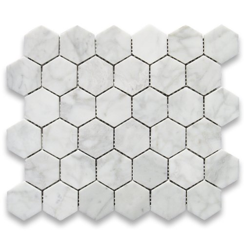 Stone Center Online Carrara White Italian Carrera Marble Hexagon Mosaic Tile 2 inch Polished Venato Bianco Bathroom Kitchen Backsplash Floor Tile