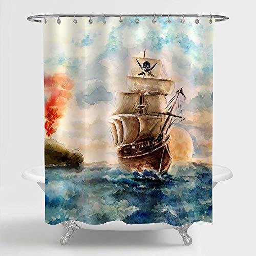 MitoVilla Nautical Sailboat Shower Curtain, Watercolor Caribbean Pirate Ship Cruises in Treasure Adventure Bathroom Decor for Children and Kids Boy Nautical Gifts, Blue Brown, 72 W x 72 L