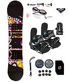 womens 140 snowboard package - SiOnyx 139-144cm Flower Womens Girls Snowboard +Bindings Package +Leash+Stomp+Sunglasses+ Roxy Decal (Bindings BLK S (fits 6-9), 139cm Flowers(N11))