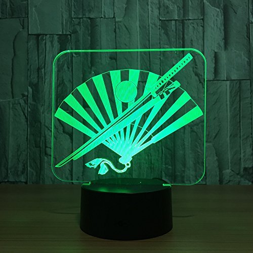 Nocturna Lámpara Cuchillo Y Ventilador Japonés Lámpara Led 3D Lámparas De Noche Led De 7 Colores...