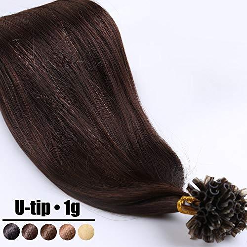 Extension Capelli Veri Cheratina Ciocche 1 Grammo Ciocca Pre Bonded U Tip Allungamento 100% Remy Human Hair - 40cm 50g #2 Marrone Scuro