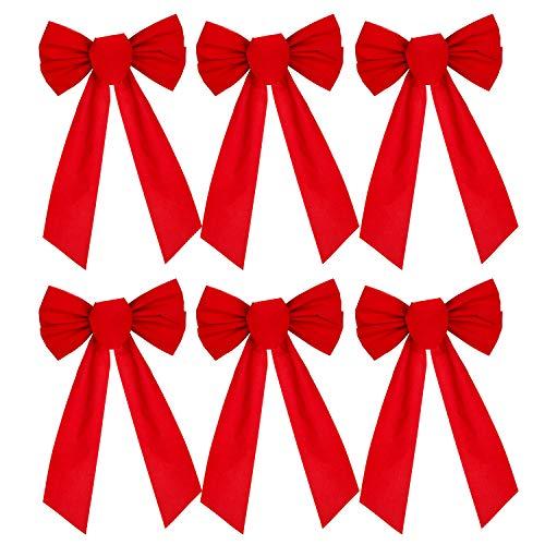 YQing Weihnachtsschleife aus Samt, Rote Schleife Zierschleifen Weihnachtsbogen für Weihnachten Party Dekoration,Rot, 6 Stück