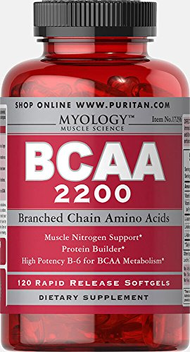 Puritan's Pride Myology BCAA 2200 | Muscle Nitrogen Support | Protein Builder | High Potency B-6 for BCAA Metabolism | 120 Softgels
