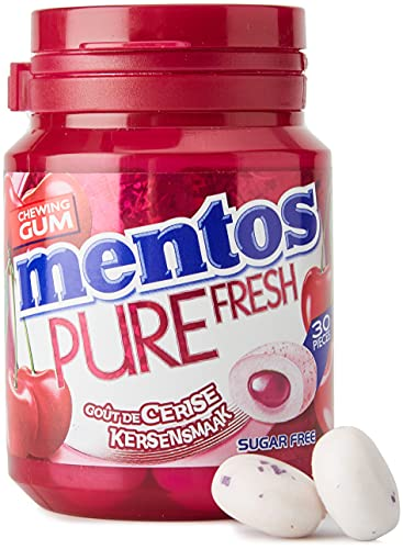 Mentos - Chewing-Gum Mentos Pure Fresh Cerise - Chewing-Gum Sans Sucres - Parfum Cerise Ultra Gourmand - Dure Longtemps - Boîte de 30 Dragées