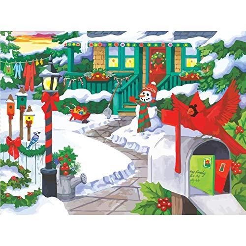 Lazodaer - Kit de pintura de diamante para adultos, redondo 5D, ideal para relajarse y decoración de la pared del hogar, casa de nieve de Navidad, 39,8 x 30 cm