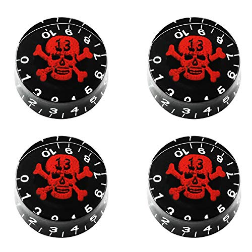 ZZHXSM 4pcs Barrel Transparent Red Skull Electric Guitar Volume Knob Potentiometer Cap Guitar Bass...