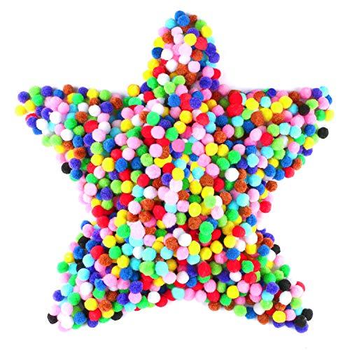 Gifort Pompons, Pompones de Colores, Pompones de Pompon, Pelotas de Peluche mullidas para Divertidas Manualidades Creativas. 1200pcs- 1-1.5cm