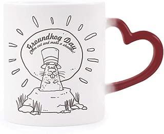 Groundhog Day USA America Canada Festival Morphing Mug Heat Sensitive Red Heart Cup