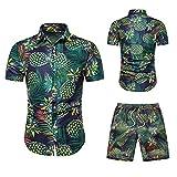 Juego de pantalones cortos de manga corta para hombre, camisa hawaiana para verano, tiempo libre, camiseta ajustada Verde_1 XL