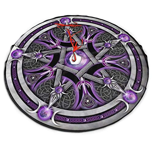 AEMAPE Purple Wicca Wiccan Star Pentagram Pentacle Themed Round Christmas Xmas Tree Skirt Carpet Mat Rugs Pad Party Favors Supplies Home Ornament Decoration 36'