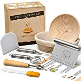 Bread Proofing Basket With Baking Tools - Sourdough Starter Kit With Bread Basket - Bread Proofing Baskets For Sourdough - Bread Making Set With Dough Whisk - Dough Scraper Baking Gifts For Bakers