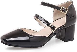 BalaMasa Womens ASL06348 Pu Block Heels