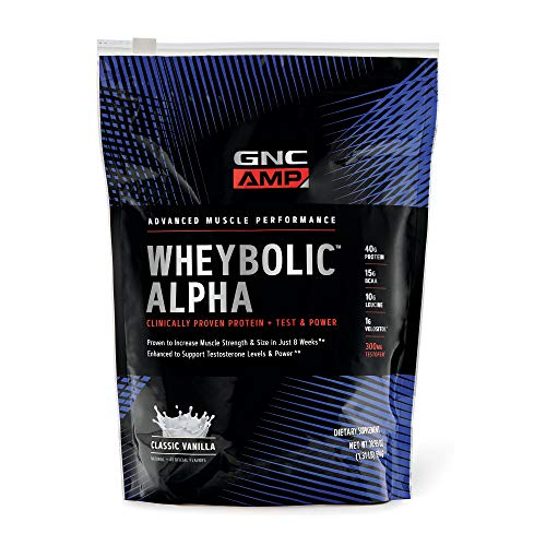 GNC AMP Wheybolic Alpha Whey Protein Powder - Classic Vanilla, 9 Servings, Contains 40g Protein and 15g BCAA Per Serving