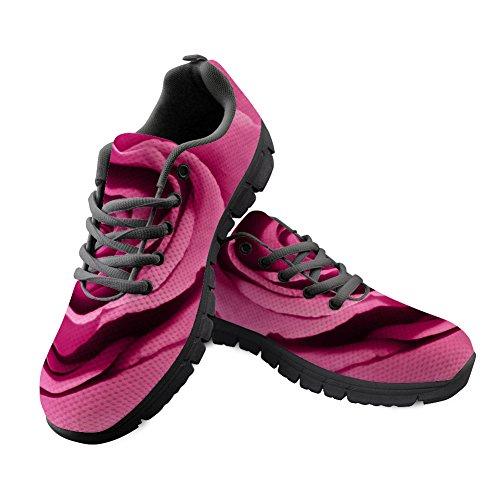 CHAQLIN Damen-Laufschuhe mit Blumenmuster, leicht, Netzstoff, Traillaufschuhe, Pink - Blume 6 - Größe: 40 EU