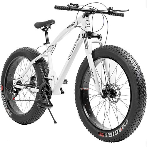 Outroad Mountain Bike 21 Speed Anti-Slip Bike 26 inch Fat Tire Sand Bike Double Disc Brake Suspension Fork Suspension, White