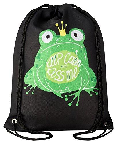 Aminata Kids - Kinder-Turnbeutel für Mädchen und Damen mit Prinzessin-en Tanzen Balett geküsst Krone Frösche Frosch-König-in Sport-Tasche-n Gym-Bag Sport-Beutel-Tasche schwarz-er grün Sprüche