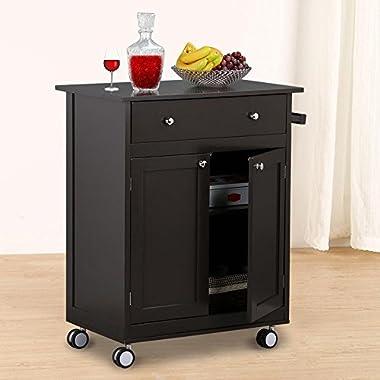 Go2buy Wood Single Drawer Kitchen Cabinet Storage, Coffee