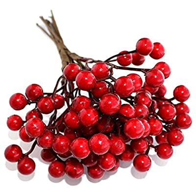 Artificial Berries Red Pip Berry Stems Spray for DIY Crafts ? Wreath, Garland, Christmas Ornaments Decoration - Decorative Winter Floral Picks for Craft Decorations/Home Holiday Decor Clearance Sale