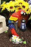 Ebros Gift 14' Tall Beautiful Tropical Rainforest Paradise Bird Red Scarlet Macaw Parrot Perching On Tree Stump Statue with Solar LED Lantern Light Decorative Path Lighter Home Garden Patio Parrots
