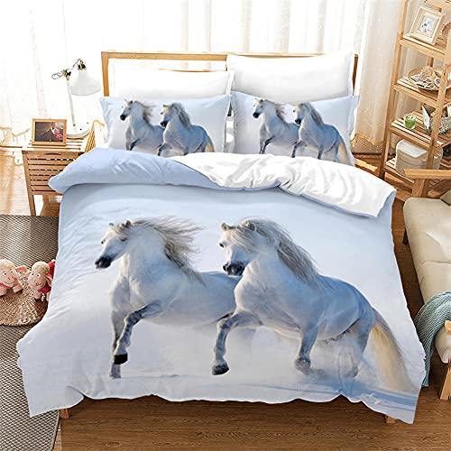 Copripiumino Cavallo 200X200 Cm Microfibra Morbida Comodo Duvet Cover Set Matrimoniale Copri Piumone Con Federa Per Adulti E Bambini