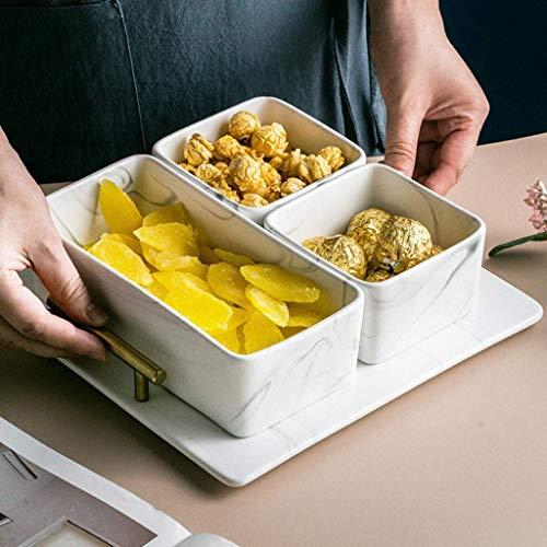 1yess Luxuriöses Marmor Tray - Afternoon Tea Snack Tablett, rechteckig Bins Keramik Obstschale Marmor /24.8x24.8x7.5cm