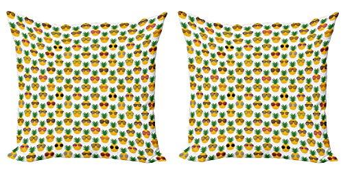 ABAKUHAUS Tropical Set de 2 Fundas para Cojín, Gafas de Sol piñas, con Estampado en Ambos Lados con Cremallera, 60 cm x 60 cm, Multicolor