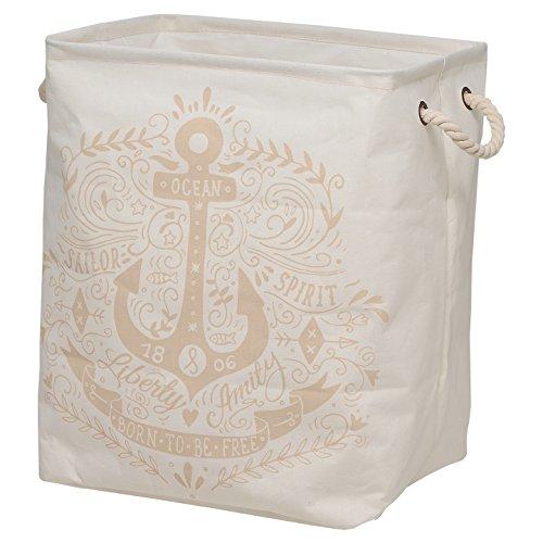 Sealskin Anchor Wäschekorb, Wäschesammler aus Stoff, verschließbar, Farbe: Ecru