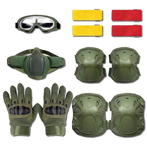 【 サバゲー 装備 セット 】 サバイバルゲーム 6点セット [ マスク ゴーグル グローブ マーカー ニーパッド エルボーパッド ] LUMO-TAC (緑, グローブM)