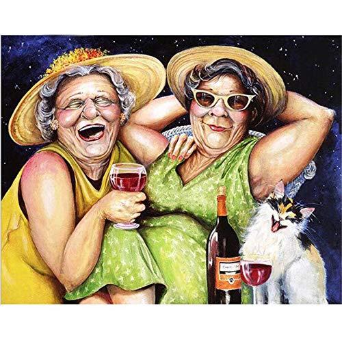 Yunzezka DIY Pintura Al Óleo Gorda Anciana Bebiendo Cerveza Lienzo Pintura Al Óleo por Números Decoración De La Casa-Sin Marco 40x50cm
