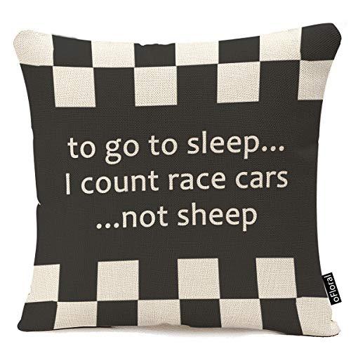 Throw Pillow Cover Cool Black White Formula Checkered Flags Pattern Decorative Pillow Case Retro Home Decor Square 18x18 Inch Cushion Pillowcase