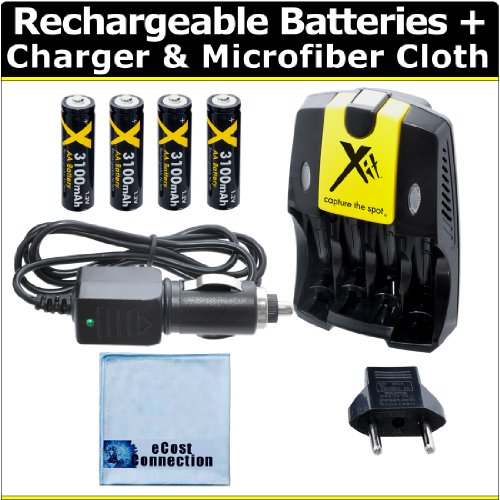 (4) Rechargeable AA Batteries with AC/DC Car/Home Charger for AA/AAA Batteries f/ Fujifilm FinePix AX650, AX660, AXS2950, S2950, S4000, S4200, S4500, S4800, S6800, S8600, S9200, S9400, HS20EXR &More + Microfiber Cloth