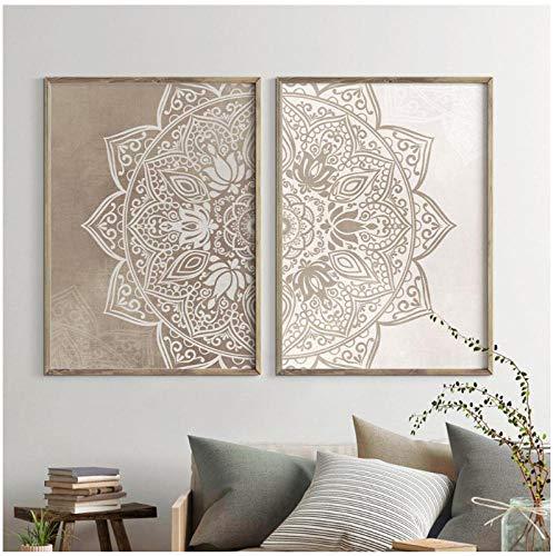 Dayanzai Mandala - Lienzo decorativo para pared, colores neutros, pósteres de yoga e impresiones de Zen para sala de estar, decoración del hogar, 50 x 70 cm x 2 piezas, sin marco