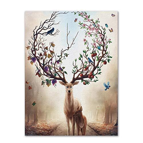 Dekorative Malerei Moderne Malerei auf der Wand Modernen Cartoon Elk Dekoration Malerei Wohnzimmer Eingang Haus-Anstrich (Color : As The Photo Show, Size (Inch) : 25 x 30)