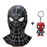 スパイダーマンマスク仮装エマルジョン大人コスプレヘッドヘルメットハロウィンアクセサリーパーティーフェイスギフトユニバーサルサイズ+ PVCキーリング