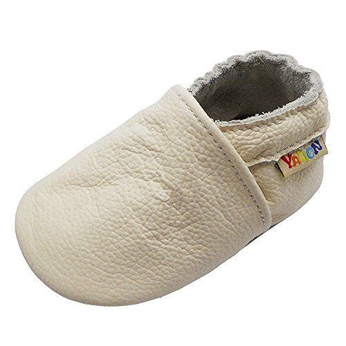 YALION Baby Boys Girls Shoes Crawling Slipper Toddler Infant Soft Leather First Walking Moccs(White,6-12 Months)