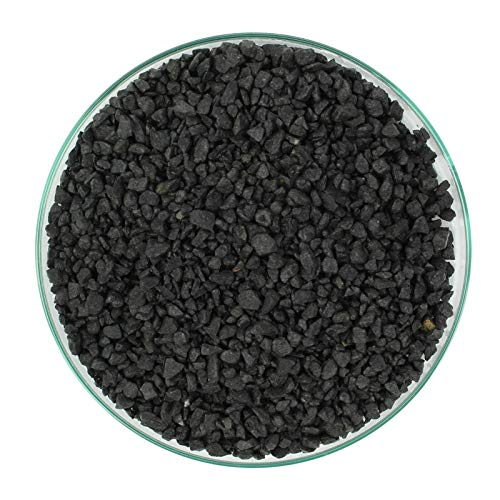 Acuario grava para acuario, decoración de peces, arena, ideal para plantas, sustrato, negro, 3-5 mm, 25 kg