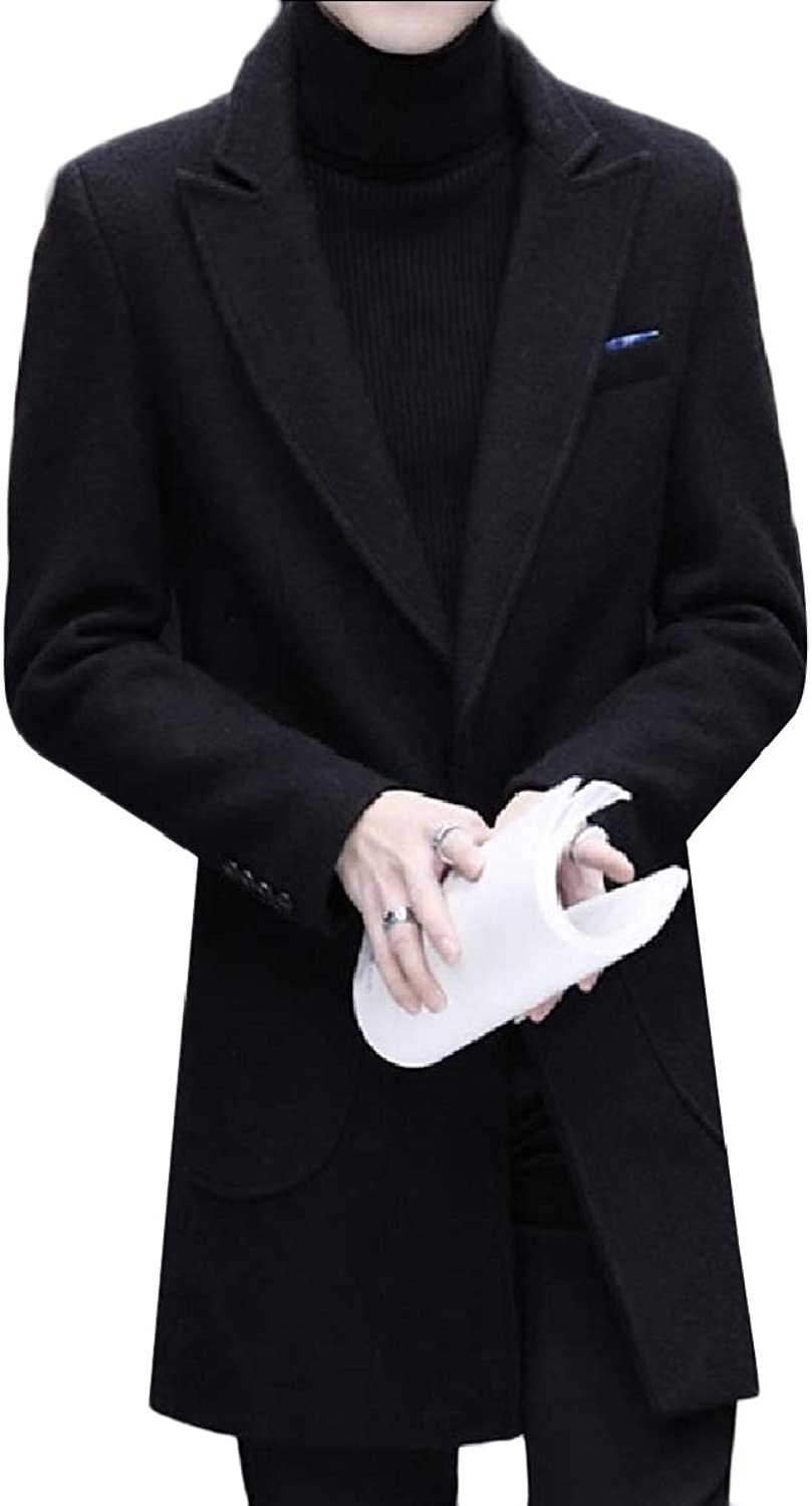 FXLM Mens Plus-Size Warm Wool Blend Trench Long Classic-Fit Pea Coat