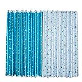 BOYOUTH Cortinas opacas de doble cara con diseño de luna y estrellas, con aislamiento térmico, cortinas y ojales para decoración del hogar, 2 paneles, 51 x 78 pulgadas, color azul