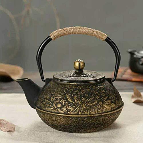 GPWDSN Patrón de Tetera de Vidrio, teteras de Hierro Fundido con infusor Tetera de Hierro Fundido Juego de té de Hierro sin Recubrimiento Tetera Japonesa del Sur de Japón.