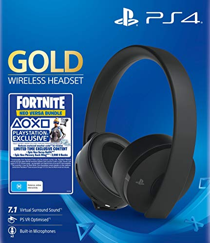 Sony - Gold Black Wireless 7.1 Gaming Headset Fortnite Neo Versa Bundle (PS4)
