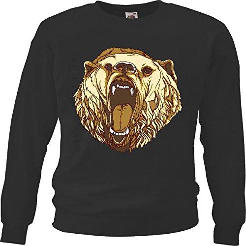 Pullover, kop van de ijsbeer, Bear Hunter jacht, beer trofee, zwart